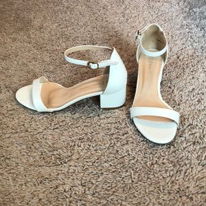 White Ankle Two Strap Low Heels